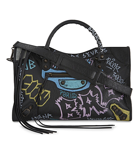 BALENCIAGA Graffiti print leather tote (Black