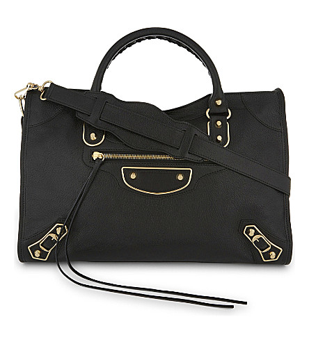 BALENCIAGA Metallic Edge City grained leather shoulder bag (Black