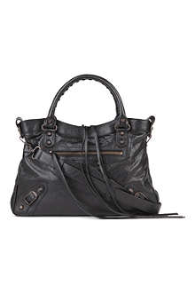 BALENCIAGA Classic Town leather tote with brass hardware