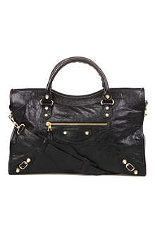 BALENCIAGA Giant City leather tote with gold-toned hardware