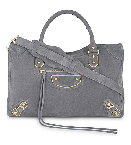 BALENCIAGA Metallic Edge City suede shoulder bag (Grey