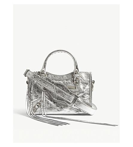 BALENCIAGA Metallic mini City leather shoulder bag (Silver+metallic