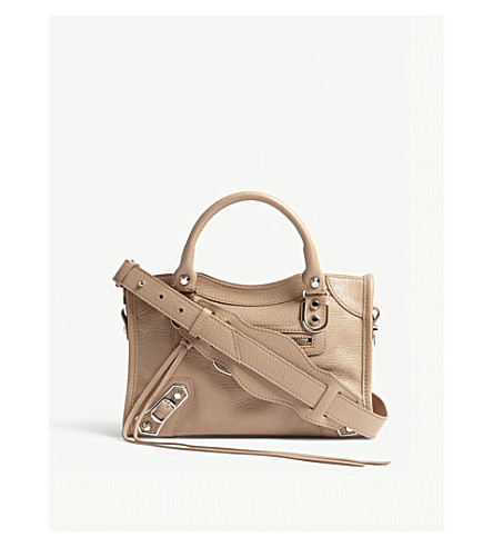 BALENCIAGA Metallic Mini City leather shoulder bag (Pink