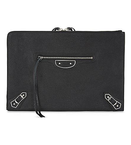 BALENCIAGA Metallic Edge City grained leather pouch (Black