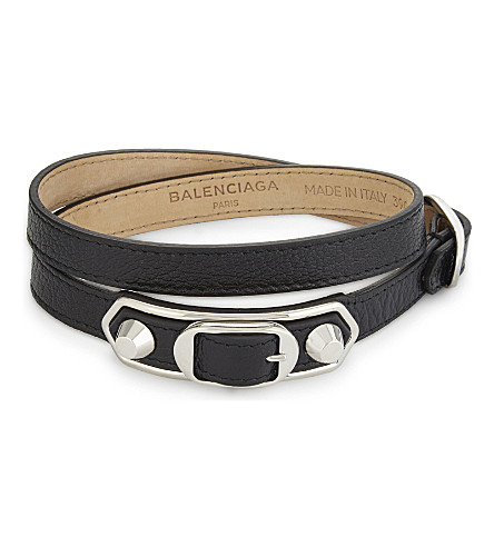 BALENCIAGA Metallic Edge leather bracelet (Black