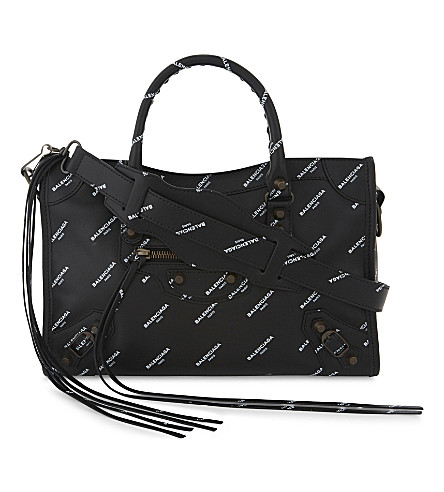 BALENCIAGA City logo print shoulder bag (Black