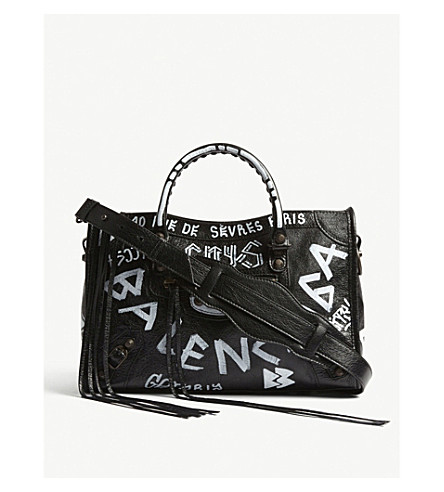 BALENCIAGA Classic City Graffiti leather shoulder bag (Black/white