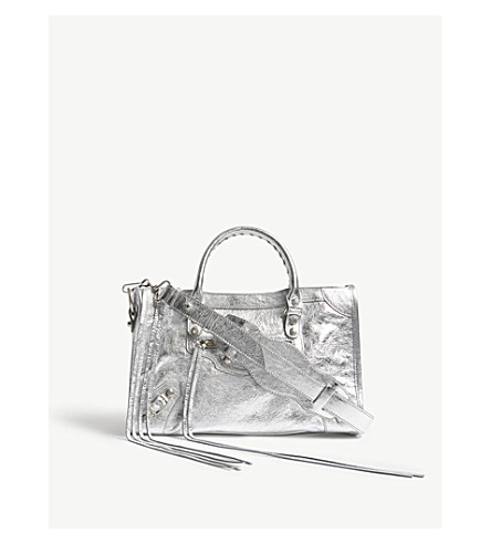 BALENCIAGA Classic City small metallic leather shoulder bag (Silver+metallic