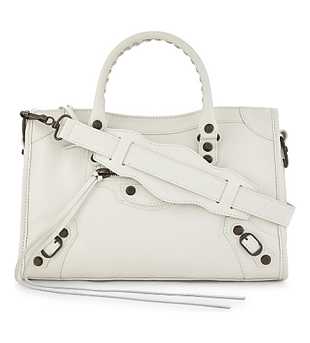 BALENCIAGA Classic City Arena small leather shoulder bag (White