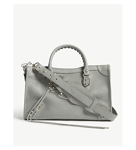 BALENCIAGA Metallic City small leather shoulder bag (Grey