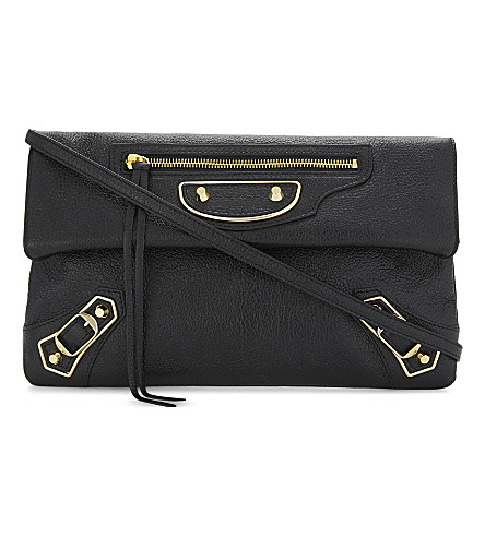 BALENCIAGA Metallic Edge City grained leather envelope clutch (Black