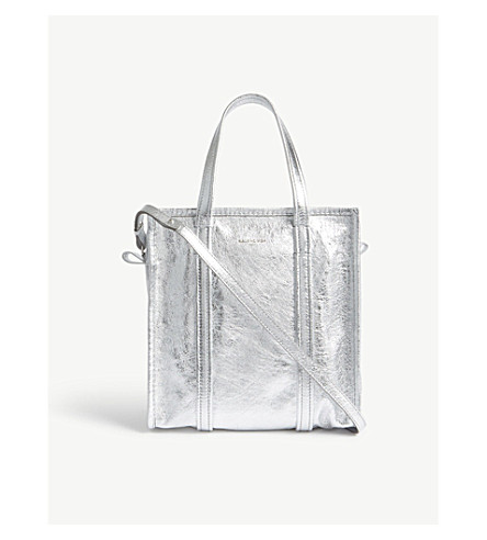 BALENCIAGA Bazar metallic leather shoulder bag (Silver+metallic
