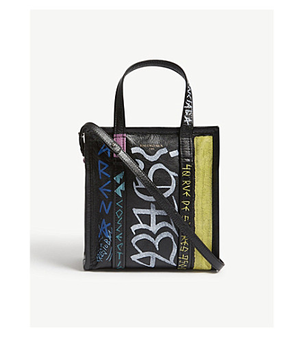 BALENCIAGA Bazar small graffiti-print leather shopper (Multi