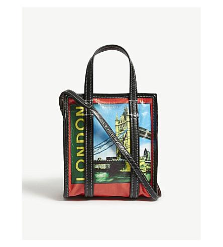 巴黎世家科克斯巴扎尔伦敦购物袋 (红 + 多