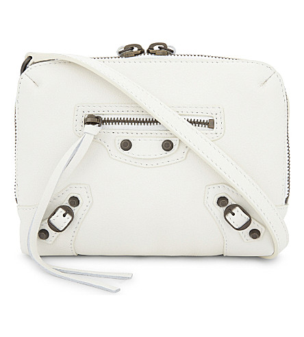 BALENCIAGA Reporter City leather cross-body bag (White