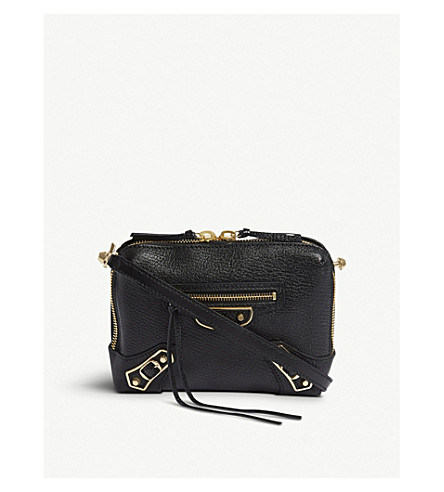 BALENCIAGA Classic Reporter grained leather cross-body bag (Black