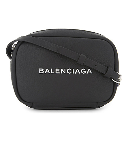 BALENCIAGA Logo leather cross-body bag (Black
