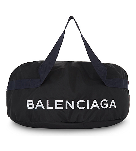 BALENCIAGA Nylon wheel bag (Black+navy
