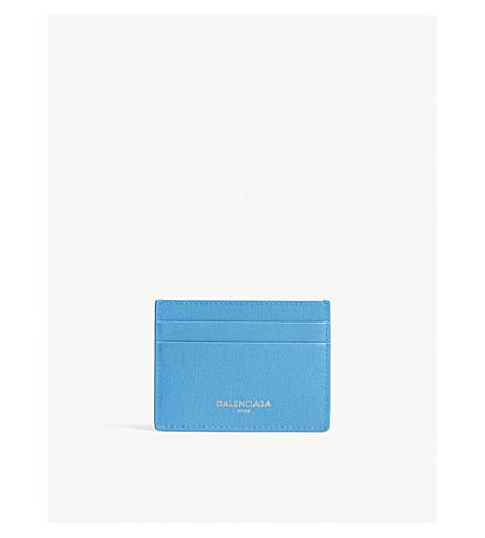 BALENCIAGA Logo textured leather card holder (Blue