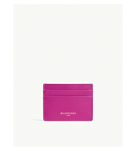 BALENCIAGA Logo textured leather card holder (Pink