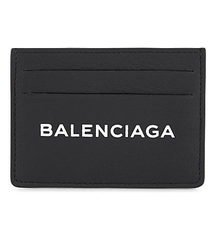 BALENCIAGA Shopping logo leather card holder (Black