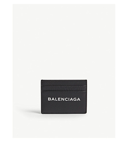 BALENCIAGA Logo grained leather card holder (Black