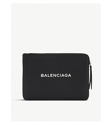 BALENCIAGA Shopping medium leather pouch (Black