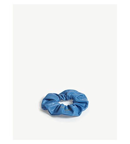 BALENCIAGA Logo leather hair scrunchie (Blue