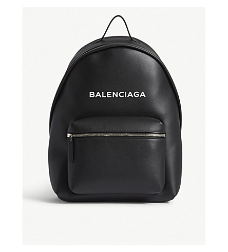 BALENCIAGA Logo leather backpack (Black