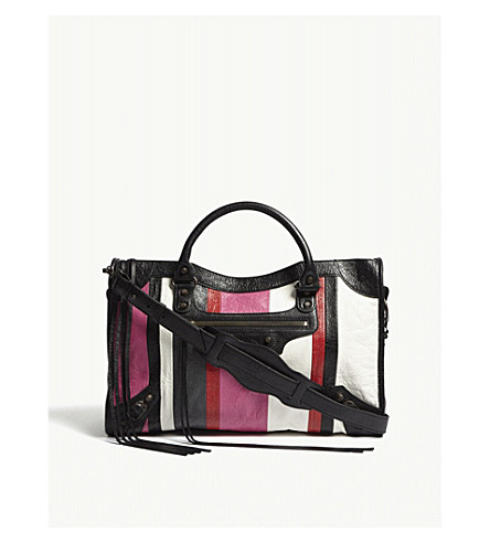 BALENCIAGA Classic City striped leather shoulder bag (Pink+stripe