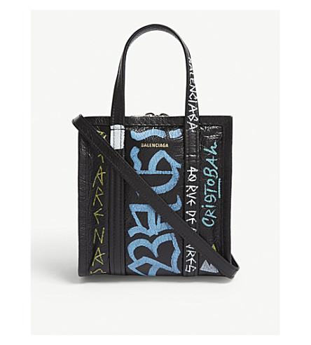 BALENCIAGA集市皮革涂鸦手提袋 xxs (粉彩 + 多