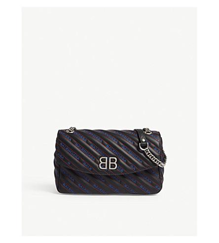 BALENCIAGA BB Round leather shoulder bag (Black/red