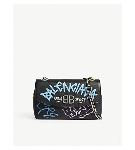 BALENCIAGA Graffiti leather shoulder bag (Multi