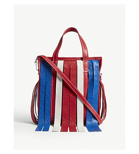 BALENCIAGA Bazar small fringed leather shopper (Red/white/blue