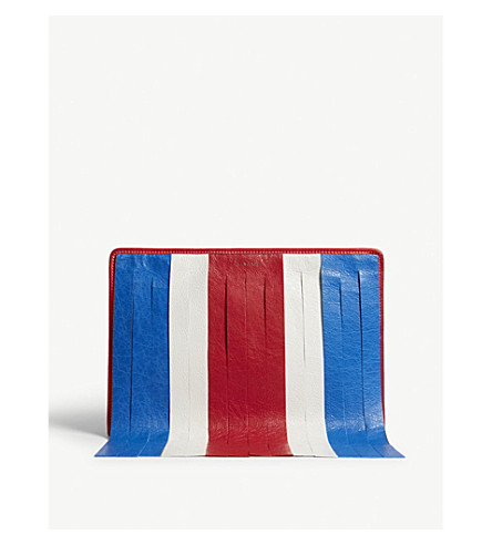 BALENCIAGA Bazar fringed leather pouch (Red/white/blue