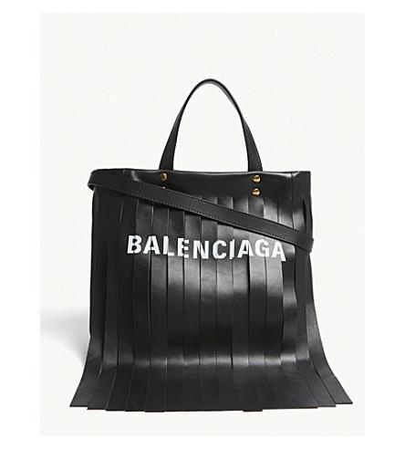 BALENCIAGA Laundry fringed leather shopper (Black