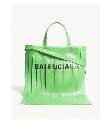 BALENCIAGA Laundry fringed leather shopper (Green