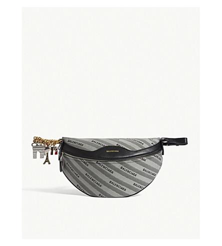 BALENCIAGA XS Souvenir canvas belt bag (Black/grey