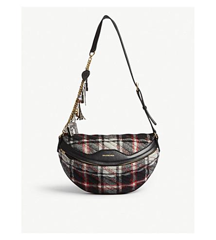 BALENCIAGA Souvenir XS plaid wool and leather belt bag (Red+multi