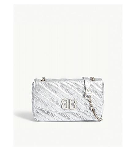 BALENCIAGA BB Chain metallic leather shoulder bag (Silver