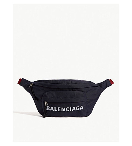 BALENCIAGA Logo nylon bumbag Navy Cheap Sale Latest rzY8qEr