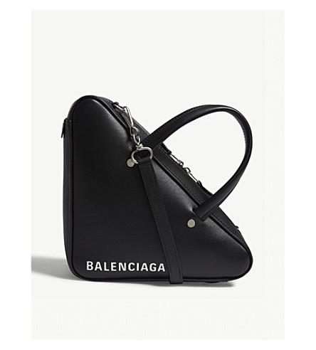 BALENCIAGA三角皮革托特包 (黑色