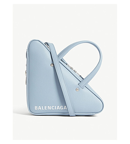 BALENCIAGA Triangle Duffle XS leather tote (Grey+blue