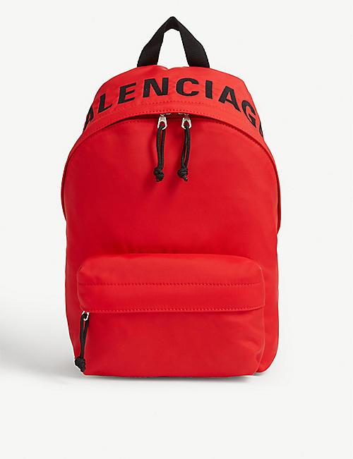 BALENCIAGA Wheel logo-print woven backpack