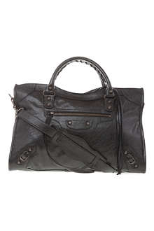 BALENCIAGA Giant City leather tote with brass hardware