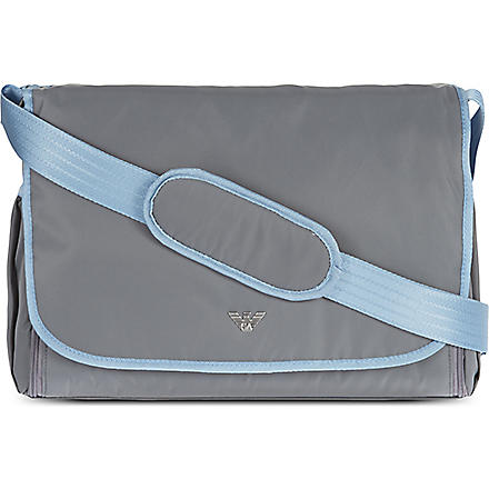 ARMANI JUNIOR Nylon nappy bag (Grey/light blue