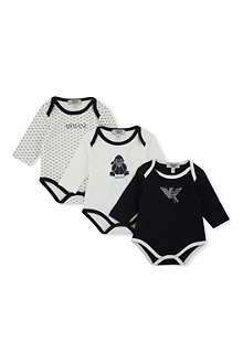 ARMANI JUNIOR Pack of 3 babygrows 1-6 months