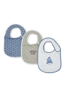 ARMANI JUNIOR Pack of 3 cotton bibs