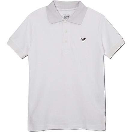 ARMANI JUNIOR Logo polo shirt 10-16 years (White