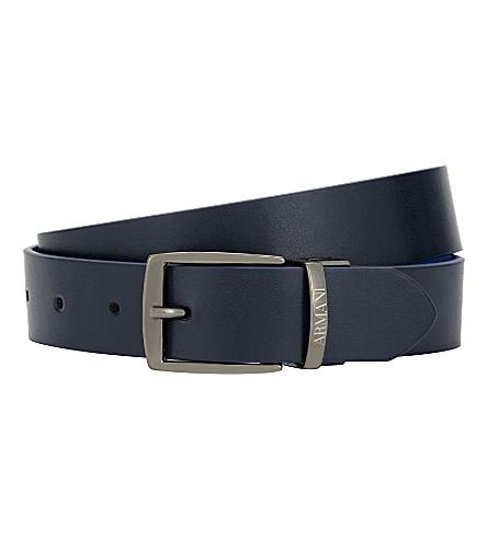 ARMANI JUNIOR Reversible leather belt (Navy/bluette